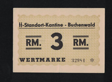 WWII GERMANY 1944 BUCHENWALD 3,- RM KL PRAMIENSCHEIN CONCENTRATION CAMP GHETTO
