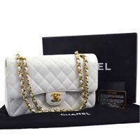 CHANEL Classic Double Flap Medium Chain Shoulder Bag White Caviar Skin A41381h