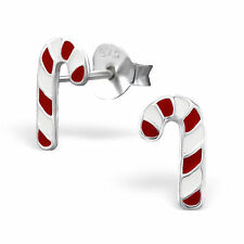 Childrens Ladies Sterling Silver candy cane xmas santa Christmas Stud Earrings