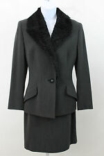 GIANNI VERSACE COUTURE CHARCOAL GRAY FUR WOOL SKIRT SUIT BLAZER 2 PC SZ 40 US 6