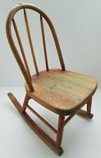 Vintage Childs Rocking Chair Bow Back Solid Oak Wood