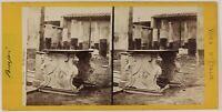 Pompei Casa Di Meleagro Italia Foto Stereo PL53L3n47 Vintage Albumina c1870