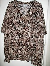 Fun Short Sleeve Blouse, Animal Print, Rayon, Size 24W, Carolina Colours