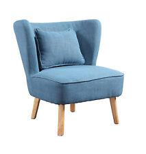 Poltroncina vintage Design in tessuto misto cotone BLUE JEANS, piedi in legno.