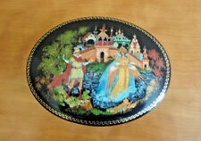 "VTG Palekh Russian Art Porcelain Oval Jewelry/Trinket Box Tale ""Tzar Saltan"""