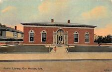 PUBLIC LIBRARY BAR HARBOR MAINE POSTCARD (c. 1910)
