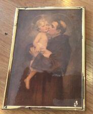 Antique Deco Religious St Anthony of Padua  Padova Child Jesus  Art Print Framed