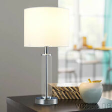 18 inch Clear Glass Base Table Lamp White Fabric Lampshade Nightstand Bedside