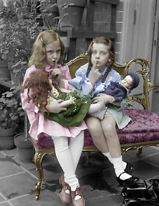 "1909-23 Two Girls Playing With Dolls Vintage Photo 8.5"" x 11"" Colorized Reprint"