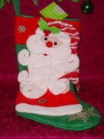 BE JOLLY CHRISTMAS STOCKING * RED HAT WITH SANTA AND BELL  ** 20  INCH ** NEW **