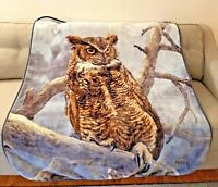 "Northwest Supermoon Owl Plush Throw Thick Blanket Blue Nature 50"" x 60"""
