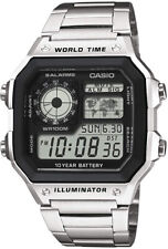 Casio Mens Stainless Steel World Time Illuminator Watch Day And Date Display