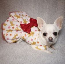 Chihuahua Christmas handmade dog dress - Gingerbread man - small breed clothes