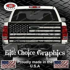 Black and Grey Distressed Flag Truck Tailgate Wrap Vinyl Graphic Decal Sticker