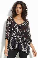 Winter Kate Tiger Lily Chiffon Top Large Nwot New Womens Black Blouse Shirt