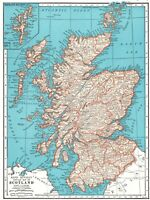 1942 Antique MAP of SCOTLAND Atlas Map Scotland Gift or Gallery Wall Art 7351