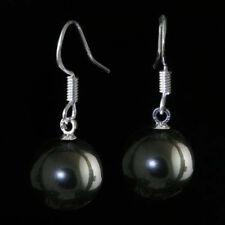 16mm black pearl shells Dangle 925S silver earrings PE288