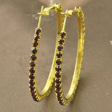 Black Stunning crystals 9K Yellow Gold Filled Women's Hoop Earrings Hoops New