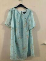 Primark blue patterned shift dress size 14