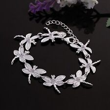 Fashion 925Sterling Solid Silver Jewelry Crystal Dragonfly Bracelet Women H121