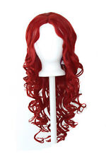 28'' Center Part Wig w/ Long Layered Curls No Bangs Dark Red Cosplay Wig NEW
