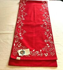 """New listing Table Runner """"Doves of Peace"""" Red With White Embroidered Doves and Leaves Nwt"""