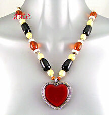 Red Black Wood Cloisonné Country Western Heart, Shabby Chic Kitsch Wag Necklace
