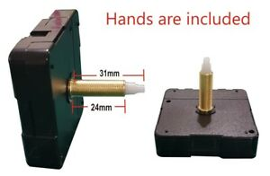 DIY Silent Quartz Mechanism Repair Clock Parts Long Spindle 31/24 plus Hands