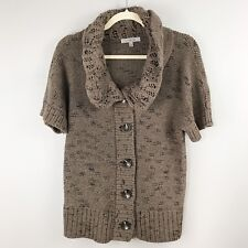 CLASSIQUES ENTIER Heavy Knit S/S Cardigan Sweater Small Crochet Collar Brown
