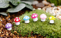60pcs Miniature Mushroom Garden Terrarium Decor Bonsai Craft Yellow Red Pink