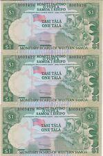 WESTERN SAMOA : 3 x 1 TALA 1980 NEUFS, N° SE SUIVANT - P.19