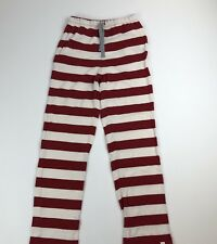 Adult Unisex BURTS BEES Red & Cream Striped Cotton Pajama Pants Sz XS Christmas