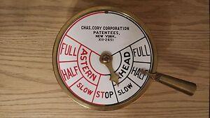 WW2 EraCHAS. CORY CORPORATIONENGINE ORDER TELEGRAPH ~Tugboat, Yacht