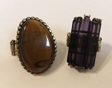 Statement Rings 2 Brown Gemstone Purple Glass Antique Gold Metal Stretch Band