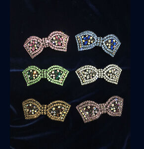 Hair Barrette Assorted Ribbon With Color Rhinestones.