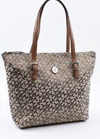 TOMMY HILFIGER Monogram Fabric Tote, Shoulder Bag, Handbag, Khaki/Natural