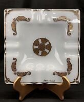 """Vintage Mid Century Georges Briard 7.5"""" Square Glass Ashtray Gold White"""