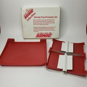 Vintage Sonic Drive In Car Hop Window Curb Tray w/ 4 Coasters - Red Plastic NOS