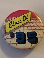 Collectable Vintage Lapel Pins - Unique Collectable Buttons - Class of 95 Red Bl