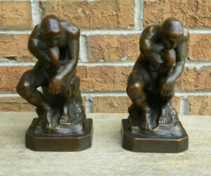 Antique Armor Bronze Clad Nude 'Thinking Man' Bookends, Paper Label