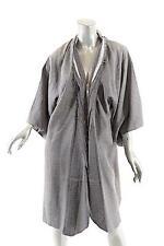 VALERJ POBEGA Gray 100% Silk Jacquard 'Kimono' Style Jacket w/Frayed Edges- Sz L