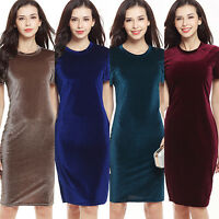 EP_ Women's Elegant Round Neck Short Sleeve Sheath Bodycon Pencil Velvet Dress W