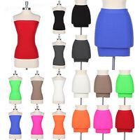 Seamless Ribbed Convertible Mini Skirt Strapless Tube Tank Top Stretch One Size