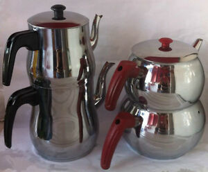 Traditional Teapot Stainless Steel Caydanlik Turkish Double Kettles XS,S,M,L, XL