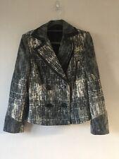 Mariella Rosati Designer Wool blend Jacket Coat Faux Leather Trim Size UK 12 Bla