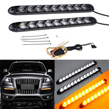 9LED White Amber LED Car Flowing Strip Lamp Arrow Flasher DRL Turn Signal Light