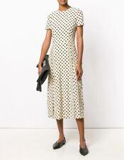 $1178 New BURBERRY Polka Dot Midi Silk Pleated Dress Beige Cream Black Size 4 38