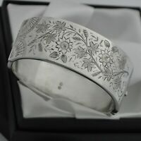 1884 Victorian Antique Aesthetic 1/2 Engraved Floral Design 925 Silver Bangle