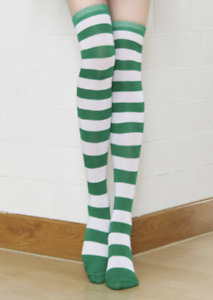Striped Green and White Thigh-High Long Socks Elf St. Patrick's Day Fashion