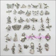 40Pcs Mixed Tibetan Silver Animals Charms Pendants Cat Horse Butterfly etc.
